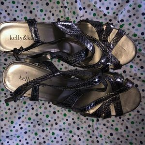 Super cute silver strappy wedges